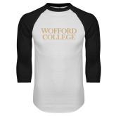White/Black Raglan Baseball T-Shirt-Wofford College Stacked
