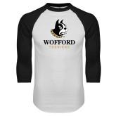 White/Black Raglan Baseball T-Shirt-Wofford Terriers w/ Terrier