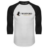 White/Black Raglan Baseball T-Shirt-Wofford Terriers w/ Terrier Flat