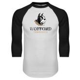 White/Black Raglan Baseball T-Shirt-Wofford Terriers w/ Terrier Distressed