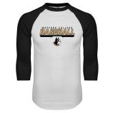 White/Black Raglan Baseball T-Shirt-Wofford College Baseball Stencil w/Bar