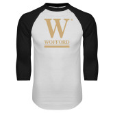 White/Black Raglan Baseball T Shirt-W Wofford