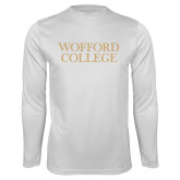 Syntrel Performance White Longsleeve Shirt-Wofford College Stacked