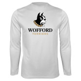 Performance White Longsleeve Shirt-Wofford Terriers w/ Terrier