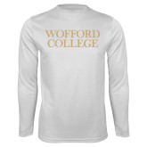 Performance White Longsleeve Shirt-Wofford College Stacked