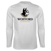 Performance White Longsleeve Shirt-Wofford Terriers w/ Terrier
