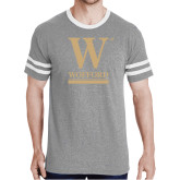 Grey Heather/White Tri Blend Varsity Tee-W Wofford