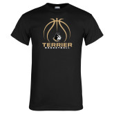 Black T Shirt-Terrier Basketball w/ Contour Lines