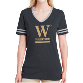 Ladies Black Heather/Grey Tri Blend Varsity Tee-W Wofford