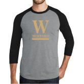 Grey/Black Tri Blend Baseball Raglan-W Wofford