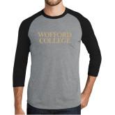 Grey/Black Tri Blend Baseball Raglan-Wofford College Stacked