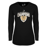 Ladies Syntrel Performance Black Longsleeve Shirt-2017 Football Champions Vertical Football