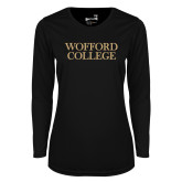 Ladies Syntrel Performance Black Longsleeve Shirt-Wofford College Stacked