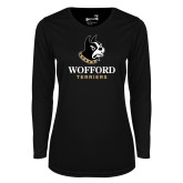 Ladies Syntrel Performance Black Longsleeve Shirt-Wofford Terriers w/ Terrier