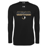 Under Armour Black Long Sleeve Tech Tee-Wofford College Baseball Stencil w/Bar