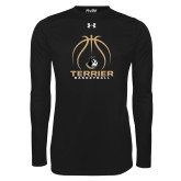 Under Armour Black Long Sleeve Tech Tee-Terrier Basketball w/ Contour Lines