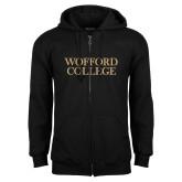 Black Fleece Full Zip Hoodie-Wofford College Stacked