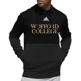 Adidas Black Team Issue Hoodie-Wofford College Stacked