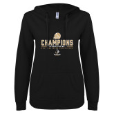 ENZA Ladies Black V Notch Raw Edge Fleece Hoodie-2017 Football Champions