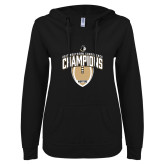 ENZA Ladies Black V Notch Raw Edge Fleece Hoodie-2017 Football Champions Vertical Football