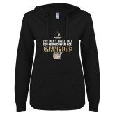 ENZA Ladies Black V Notch Raw Edge Fleece Hoodie-2019 Mens Basketball Champions