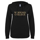 ENZA Ladies Black V Notch Raw Edge Fleece Hoodie-Wofford College Stacked