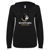 ENZA Ladies Black V Notch Raw Edge Fleece Hoodie-Wofford Terriers w/ Terrier