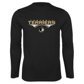 Syntrel Performance Black Longsleeve Shirt-Terriers Football Flat w/ Football