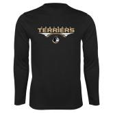 Performance Black Longsleeve Shirt-Terriers Football Flat w/ Football