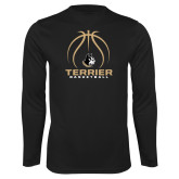 Syntrel Performance Black Longsleeve Shirt-Terrier Basketball w/ Contour Lines