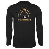 Performance Black Longsleeve Shirt-Terrier Basketball w/ Contour Lines