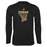Performance Black Longsleeve Shirt-Terrier Basketball w/ Net