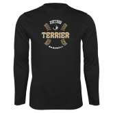 Performance Black Longsleeve Shirt-Wofford College Terrier Baseball w/Seams