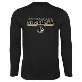 Performance Black Longsleeve Shirt-Wofford College Baseball Stencil w/Bar