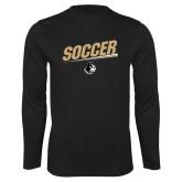 Performance Black Longsleeve Shirt-Wofford Soccer Slanted