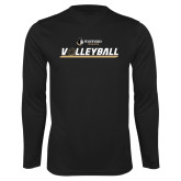 Performance Black Longsleeve Shirt-Wofford Terriers Volleyball w/ Volleyball
