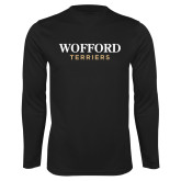 Syntrel Performance Black Longsleeve Shirt-Wofford Terriers Word Mark