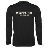 Performance Black Longsleeve Shirt-Wofford Terriers Word Mark