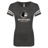 ENZA Ladies Black/White Vintage Triblend Football Tee-Wofford Terriers w/ Terrier