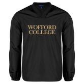V Neck Black Raglan Windshirt-Wofford College Stacked
