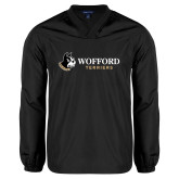 V Neck Black Raglan Windshirt-Wofford Terriers w/ Terrier Flat