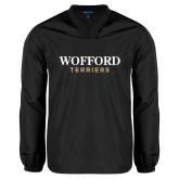 V Neck Black Raglan Windshirt-Wofford Terriers Word Mark