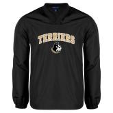 V Neck Black Raglan Windshirt-Terriers Arched w/ Terrier