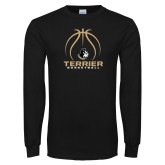 Black Long Sleeve TShirt-Terrier Basketball w/ Contour Lines