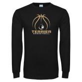 Black Long Sleeve TShirt-Terrier Basketball w/ Contour Lines