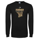Black Long Sleeve TShirt-Terrier Basketball w/ Net