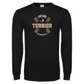 Black Long Sleeve TShirt-Wofford College Terrier Baseball w/Seams