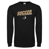 Black Long Sleeve TShirt-Wofford Soccer Slanted