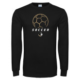 Black Long Sleeve TShirt-Wofford Soccer Stacked