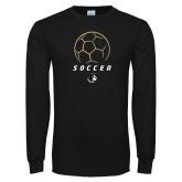 Black Long Sleeve TShirt-Wofford Soccer Stacked